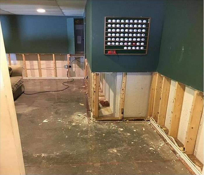 Flood cuts performed on wall after storm damage